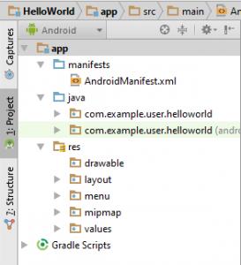 Figura 2 – Hierarquia dos diretórios do projeto, no separador Android