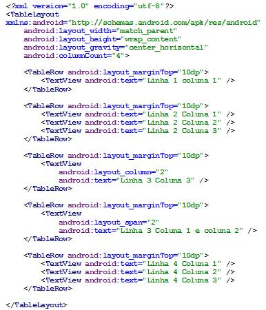 Figura 7 - TableLayout em código XML