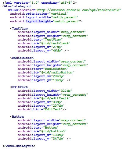 Figura 13 - AbsoluteLayout em código XML
