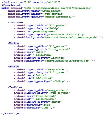Figura 15 – FrameLayout em código XML