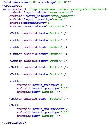 Figura 11 - GridLayout em código XML