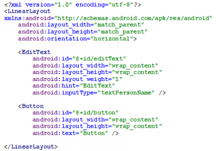 Figura 5 - LinearLayout com orientação horizontal em código XML