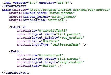 Figura 3 - LinearLayout com orientação vertical em código XML