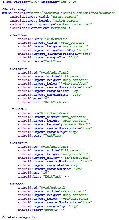 Figura 9 - RelativeLayout em código XML