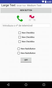 Figura 16 - Exemplo de alguns do Widgets disponíveis (TextView, Button, ImageButton, EditText, CheckBox, RadioButton, TougleButton)