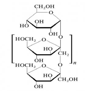 Figura 1 - Fórmula estrutural da inulina composta por uma cadeia de resíduos de frutose (mais precisamente fructofuranose) e um resíduo de glicose (mais precisamente glucopiranose) terminal, sendo n entre 10 a 60. O grau de polimerização total da inulina = n + 2.