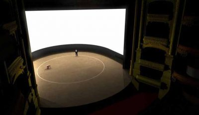 Ciclorama utilizada em sala de espetáculos