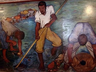 A mão de obra escrava negra africana era predominante nas minas.
