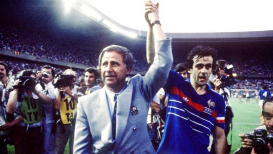 France Coach Michel Hidalgo (l) celebrates winning the European Championship with star player Michel Platini (r)
