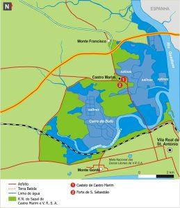 Mapa do Sapal de Castro Marim. Fonte: ICNF