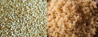 Figura 1 – Quinoa branca crua e cozida.