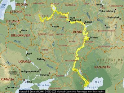 A extensão do Rio Volga na sua totalidade