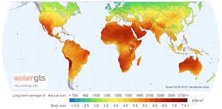 intensidade da radiação solar no mundo